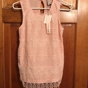 Light pink lace tank top! Very cute with sweater!